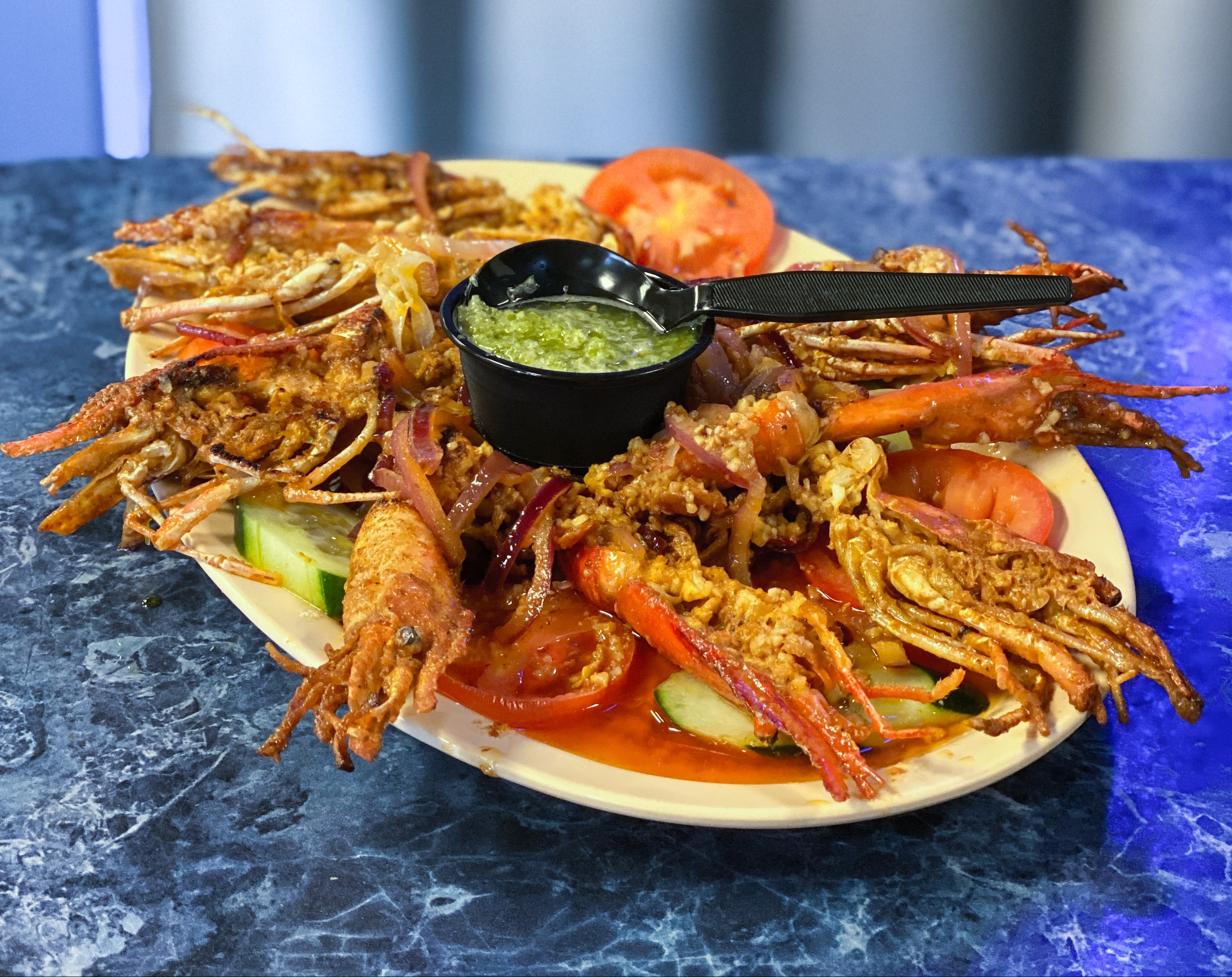 Langostino Plate at Mariscos La Palma in Moreno Valley